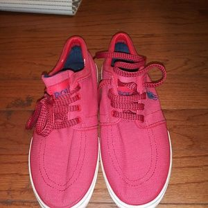 Red boating shoes